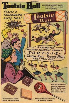 ' Vintage Tootsie Roll Candy Ad, Published in The Fox . Old Advertisements, Retro Advertising, Advertising Signs, Retro Candy, Vintage Candy, Retro Vintage, Vintage Food, Vintage Ladies, Vintage Sweets
