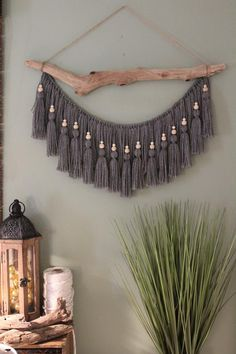 Large Gray Beaded Tassel Driftwood Wall Hanging