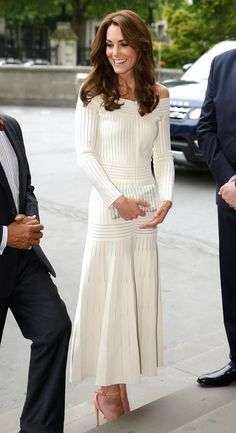 Kate Middleton Just Wore Her Trendiest Look Yet and we're obsessed. | Off-the-shoulder cotton-blend and lace maxi dress | The Zoe Report