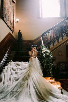 dramatic wedding gown - photo by Lara Hotz http://ruffledblog.com/secret-garden-inspired-australian-wedding/