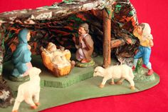 Vintage Nativity Scene Italy Paper Mache Hand Painted Grotto One Piece  | eBay