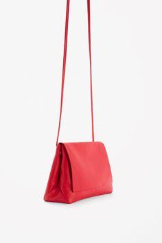 COS image 6 of Soft leather shoulder bag  in Red