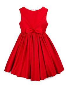 Sleeveless Taffeta Party Dress, Red, Size 4-6, Size: 6 - Helena