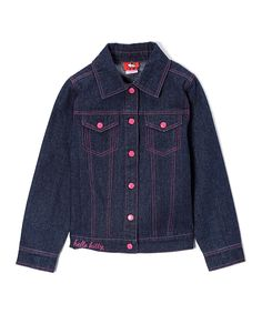 Look what I found on #zulily! Hello Kitty Dark Indigo Hello Kitty Denim Jacket - Girls by Hello Kitty #zulilyfinds
