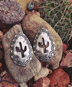 Cowgirl Gypsy SILVER TONE Earrings AZTEC CACTUS Stamped Aztec Native Tribal…