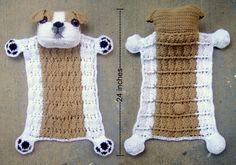 Best 11 Bulldog Puppy Blankie Crochet Pattern by JennaWingateDesigns Crochet Lovey, Manta Crochet, Crochet Blanket Patterns, Baby Blanket Crochet, Crochet Toys, Free Crochet, Manta Animal, Diy Baby Gifts, Lovey Blanket