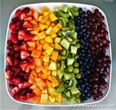 """A post about """"Healthy Snacks for Kids"""" including this fun fruit rainbow!"""