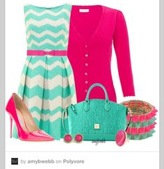 Cute chevron dress with the pink accessories!