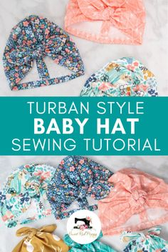Learn How to Easily Create A Knotted Turban Style Baby Hat with This Step-by-Step Photo Tutorial. Learn How to Easily Create A Knotted Turban Style Baby Hat with This Step-by-Step Photo Tutorial.Knotted Turban Baby Hat Sewing Tutorial - Go pin Lookin Baby Sewing Projects, Sewing Projects For Beginners, Sewing For Kids, Sewing Hacks, Sewing Tips, Baby Sewing Tutorials, Tutorial Sewing, Knitting Projects, Baby Dress Tutorials