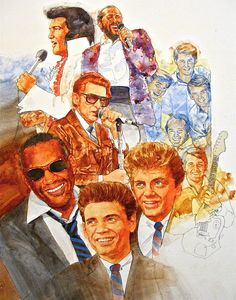 It's Rock and Roll 3 by Cliff Spohn ~ acrylic on board ~ Elvis, Smokey Robinson, The Beach Boys, Jerry Lee Lewis, Ray Charles & The Everly Brothers
