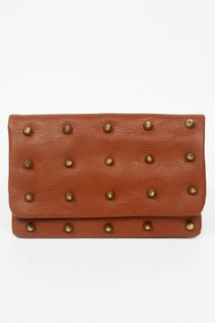 brown with gold studs clutch