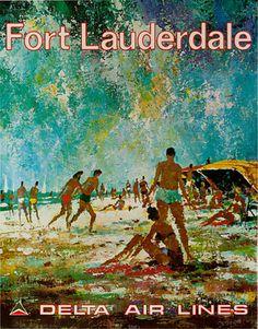 c.1970s Ft. Lauderdale -- #Delta Airlines. Artist: Jack Laycox. #poster #ephemera #Florida