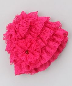 Take a look at this Hot Pink Lace Ruffle Beanie by Zuzu Petals on #zulily today!