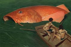 artist: Jeremy Enecio Rebecca says: haha. this is how big my koi is getting.never put a koi in a small goldfish pond. Art And Illustration, Illustrations, Koi Painting, Surrealism Painting, Concept Art World, Freelance Illustrator, Cool Art, Art Prints, Drawings