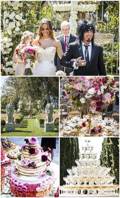 Pink, Regal Outdoor Ceremony + Reception | Photography: Marc Royce Photography. Read More: https://www.insideweddings.com/weddings/courtney-bingham-and-nikki-sixx/573/