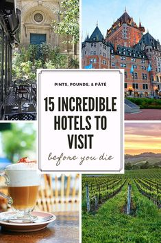 15 of the best hotels in the world to add to your bucket list! From Florence, to stunning California wine country, I've got tips on the best hotels in Europe, the US, and Canada! #besthotelsintheworld #bucketlist #europetravel #traveltips Europe Travel Tips, Travel Usa, Travel Destinations, Unique Hotels, Best Hotels, Treehouse Hotel, Beach Club Resort, California Wine, Worlds Of Fun