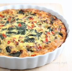 Smoky Bacon, Green Chili and Pepper Jack Crustless Quiche