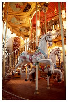 Original Fine Art Photography (watermark will not be on the actual print)    Carousel Horses, Paris Carousel, with hot air balloon, Moulin Rouge
