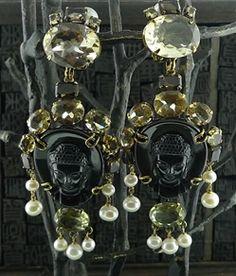 Iradj Moini Buddha Cameo Earclips of Black Obsidian, Citrine & Pearl
