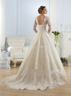 Luxo Manga Comprida Lace Apliques Low Back Vestido de Noiva 2016 A line vestido de noiva Vestidos de Casamento vestido de noiva em Vestidos de casamento de Casamentos & Eventos no AliExpress.com | Alibaba Group