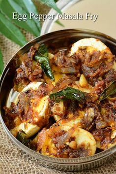 egg-pepper-masala-fry I like that! Quick Egg Recipes, Egg Recipes Indian, Indian Dishes, Veg Recipes, Curry Recipes, Vegetarian Recipes, Chicken Recipes, Vegetarian Masala, Simple Indian Recipes