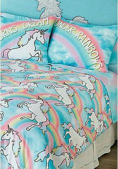 Justice - Girls Unicorn Bed in a Bag - Queen/Full Sizes. Tween Girl's team unicorn and Other room from Justice. Unicorn Room Decor, Unicorn Rooms, Unicorn Bedroom, Unicorn Bed Sheets, Unicorn Pillow, Unicorn Doll, Unicorn Kids, Dream Bedroom, Girls Bedroom