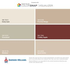 found these colors with ColorSnap® Visualizer for iPhone by Sherwin-Williams: Ivory Lace (SW Grassland (SW Malabar (SW Practical Beige (SW Crabby Apple (SW Sand Dollar (SW Interior Paint Colors For Living Room, Exterior Paint Colors For House, Bedroom Paint Colors, Paint Colors For Home, Room Colors, Sand Color Paint, Cabin Paint Colors, Beige Paint Colors, Wall Colors