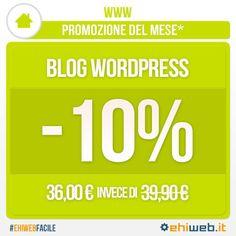 Come tutti gli altri servizi anche il #Blog #Wordpress questo mese è scontato del 10%! Che aspetti? Per fare un sito o un blog personalizzato non c'è più bisogno di avere conoscenze tecniche o di programmazione! #EhiwebFacile