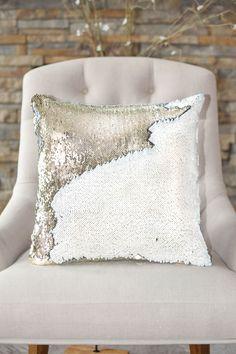 White & Gold Reversible Sequin Mermaid Pillow