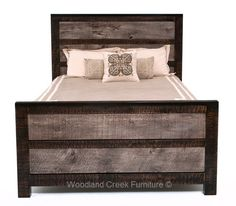 This rustic chic bedis handcrafted from reclaimed weathered barn wood. The linear design and mixture of colors and textures give it a distinct modern rustic feel. The gray wash finish on the wood juxtaposed next to the distressed ebony creates a refined rustic furniture design. This design willfit comfortably into a modern urban apartment or