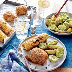 Crispy Chicken Thighs with Spinach-and-Pea Potato Salad & Chili-Lime Corn