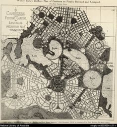 Walter Burley Griffin's Plan of Canberra as finally revised and accepted 1913