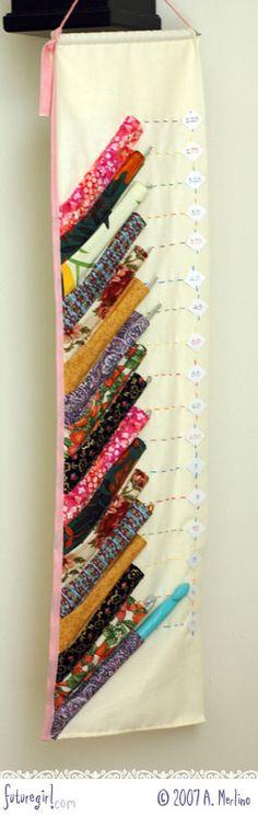 Crochet Hook Holder - http://www.futuregirl.com/craft_blog/2007/10/ive-got-fever-and-only-prescription-is.aspx