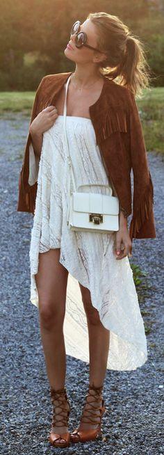 Bohemian Fashion style women apparel clothing outfit sunglasses white dress jacket blazer shoes summer