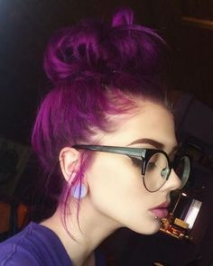 "@lastfeastofthewolves messy bun in Manic Panic's ""Purple Haze"" - my hair is currently this color!"