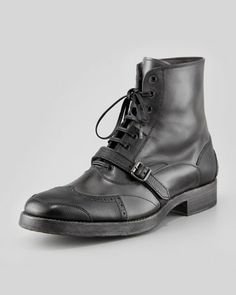 Wing-Tip Boot with Buckle, Black/Gray by Alexander McQueen at Bergdorf Goodman.