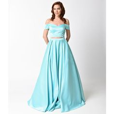 Mint Off The Shoulder Two Piece Dress ($251) ❤ liked on Polyvore featuring dresses, gowns, blue, white evening dresses, white prom dresses, formal evening gowns, two piece prom dresses and petite formal gowns