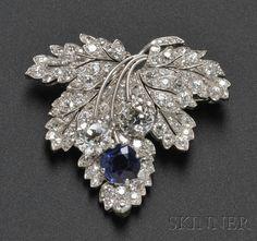 Art Deco Platinum, Sapphire, and Diamond Leaf Brooch, Paul Flato