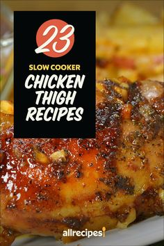 "23 Slow Cooker Chicken Thigh Recipes | ""Juicy, tender, and full of flavor, chicken thighs are one of our favorite cuts of chicken — and the slow cooker makes them so easy to cook. Unlike chicken breasts, which can dry out in the slow cooker, dark meat chicken thighs stay fork-tender even after hours of cooking."" #slowcooker #slowcookerrecipes #crockpotrecipes #crockpotdinnerideas"