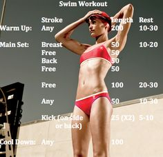 Swim Workout. Great for beginners or for those getting back into a swim routine.