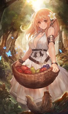 ✮ ANIME ART ✮ food. . .fruit. . .harvesting. . .basket. . .forest. . .elf girl. . .elf ears. . .elven. . .fae. . .forest. . .trees. . .sunlight. . .animals. . .chipmunk. . .butterflies. . .flower. . .jewelry. . .fantasy. . .nature. . .cute. . .kawaii