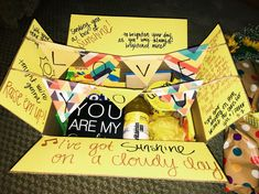 Box of Sunshine Care Package Gift Ideas - Unicorn Dreaming Cheer Up Gifts, Bff Gifts, Cute Gifts, Diy Gifts To Cheer Someone Up, Funny Gifts, Presents For Best Friends, Best Friend Gifts, Birthday Box, Birthday Gifts