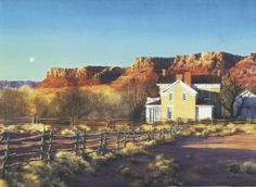 """CLASSROOM 30x44. AL Rounds, """"Brigham Young Winter Home"""". Framed in silver with 3"""" inside piece"""