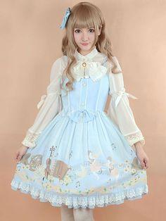 Blau Chiffon Lolita Kleid mit Bogen Druckschaltflächen - Milanoo.com