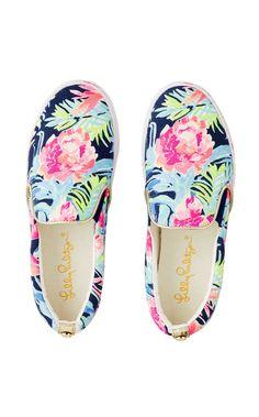 Lilly Pulitzer Julie Sneaker - High Tide Navy Tropicolada Shoe 8