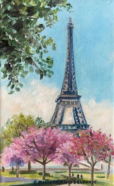 Eiffel towers and cherry trees, inches) is an original oil painting by Edwige Mitterrand Delahaye. The painting represents a view of the Eiffel Towers in Paris France during spring with cherry blossom trees. Eiffel Tower Drawing, Eiffel Tower Painting, Eiffel Tower Art, Eiffel Towers, Paris Painting, City Painting, Spring Painting, Oil Painting Abstract, Paris Canvas