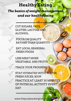 Healthy eating consists of simple steps to follow daily. Healthy eating is strictly related to weight management. Do you find out more? www.thepurpleaubergine.co.uk Vegetarian Protein Sources, Stay Hydrated, Weight Management, Physical Activities, Healthy Eating, Alcohol, Fresh, Vegetables, Simple