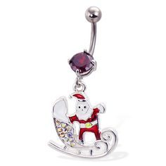 Santa with sled christmas belly button ring. #accessories #bodyjewelry #piercing #jewelry #piercings #bodymod #bellyring #christmas ♥ $10.99 via OnlinePiercingShop.com