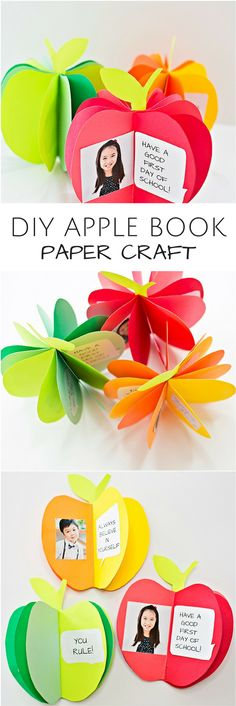 DIY 3D Apple Book Paper Craft. Cute back to school craft for kids or fall autumn art project. Free printable templates included. #cute_crafts_for_fall