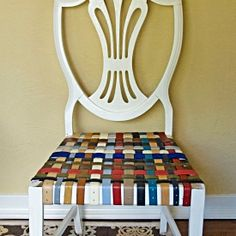 Use leather belts to revamp old chair bottoms http://www.sallyannk.com/2013/09/diy-belted-chairs.html